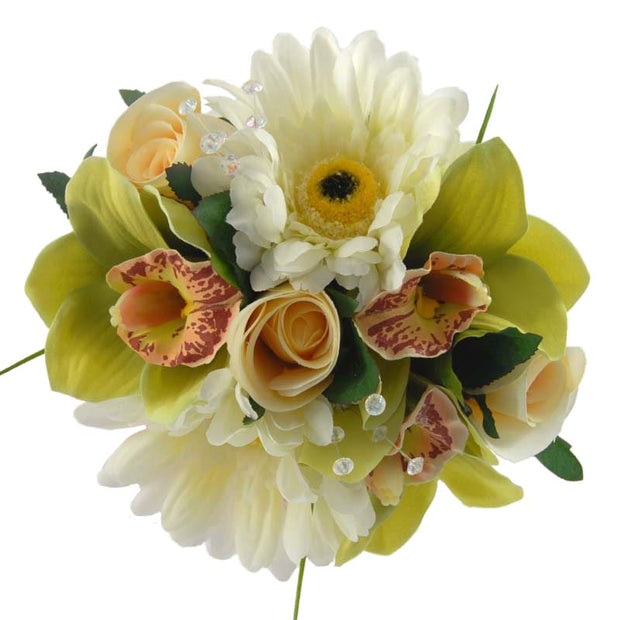Green Orchid, Ivory Gerbera & Rose Flower Girl Wedding Posy