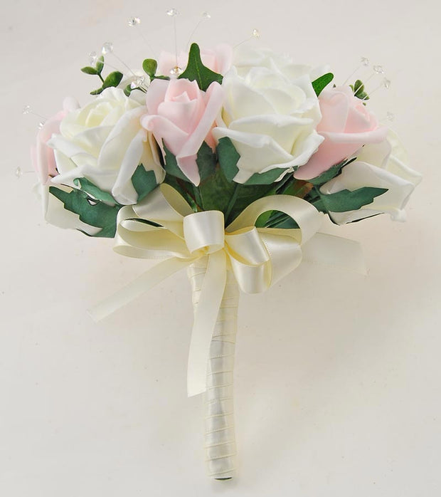 Bridesmaids Pink, Ivory Foam Rose & Crystal Wedding Posy