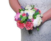 Bridesmaids Pink, Ivory Peony, Rose & Lavender Wedding Bouquet