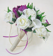 Bridesmaids Purple Peony & Ivory Calla Lily Brooch Wedding Bouquet