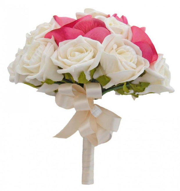 Bridesmaids Ivory Rose & Silk Pink Orchid Wedding Bouquet