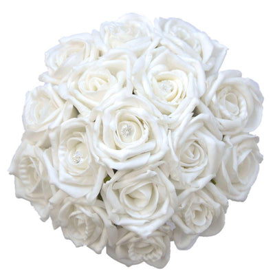 Bridesmaids White Diamante Foam Rose Wedding Posy Bouquet