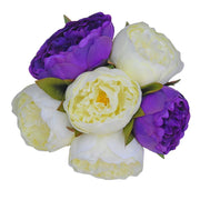 Bridesmaids Purple & Ivory Silk Peony Wedding Posy Bouquet