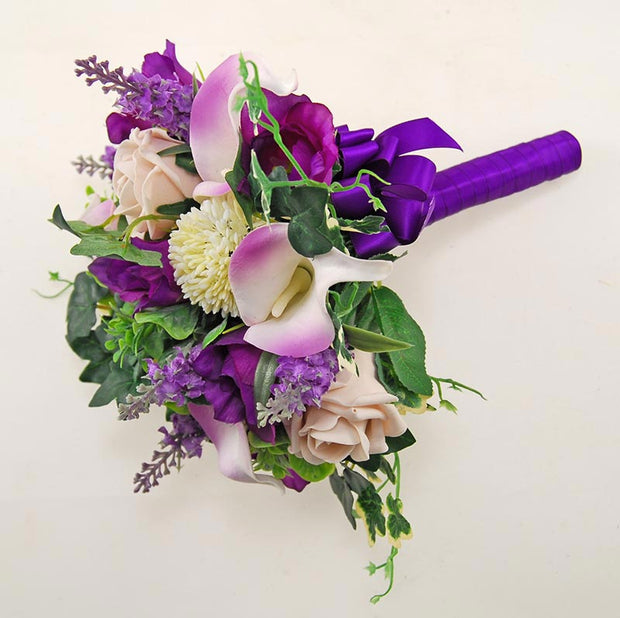 Bridesmaids Purple Silk Freesia & Pink Ivory Calla Lilly Wedding Bouquet