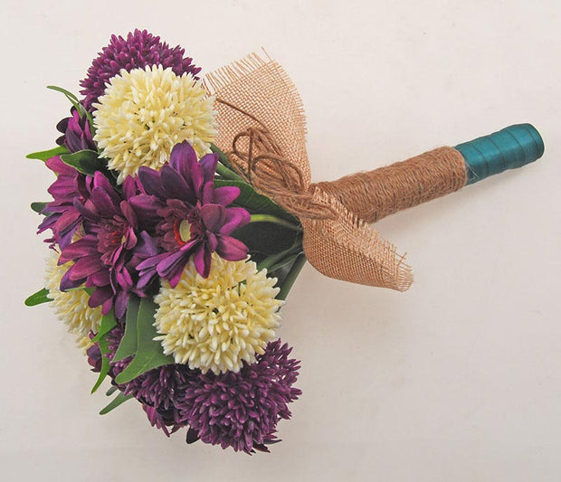Bridesmaids Purple Silk Gerbera & Allium Wedding Bouquet