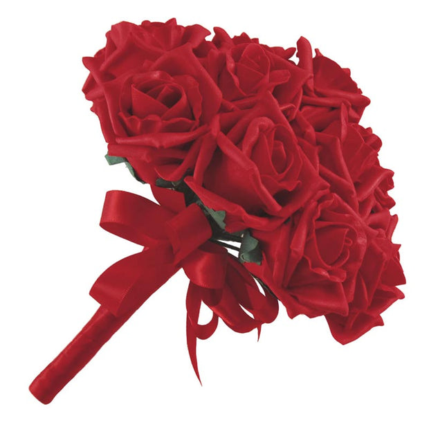 Bridesmaids Red Foam Rose Wedding Posy Bouquet