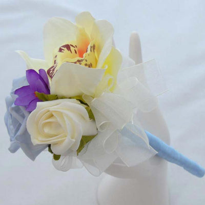 Ivory Silk Orchid, Purple Freesia & Blue Rose Flower Girl Wand