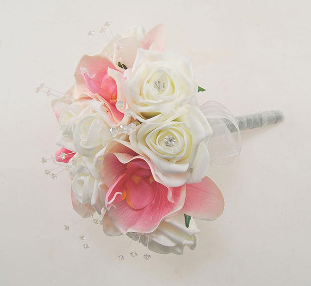 Bridesmaids Pink Orchid & Ivory Rose Crystal Wedding Bouquet