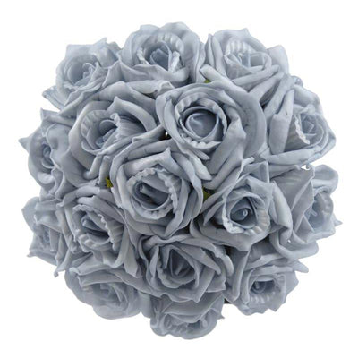 Bridesmaids Light Blue Foam Rose Wedding Bouquet