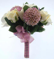 Bridesmaids Purple Freesia, Allium, Ivory Lily & Rose Wedding Bouquet