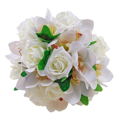 Bridesmaids Silk Orchid & Ivory Rose Wedding Posy Bouquet
