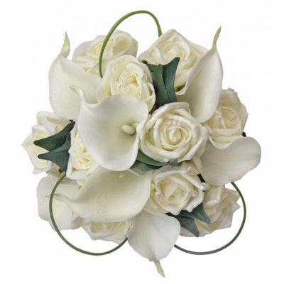 Bridesmaids Off White Calla Lily & Ivory Rose Wedding Bouquet