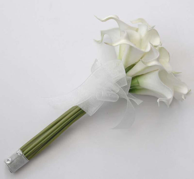 Bridesmaids Soft Touch White Calla lily Wedding Posy Bouquet