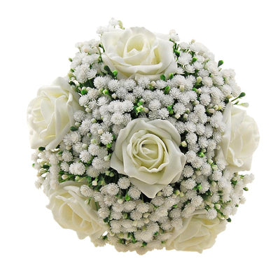 Bridesmaids Artificial Gypsophila & Ivory Foam Rose Wedding Bouquet