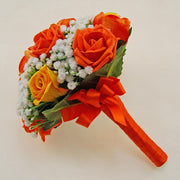 Bridesmaids Artificial Gypsophila & Orange Rose Wedding Bouquet