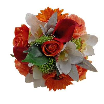 Bridesmaids Calla Lily, Orange Rose, Orchid & Sunflower Wedding Bouquet