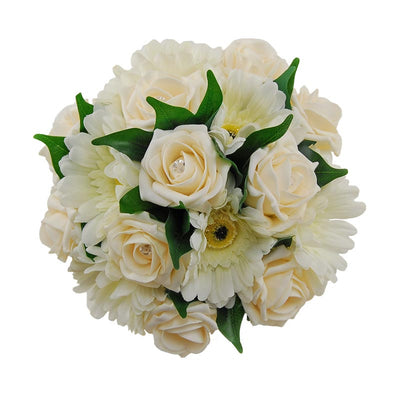 Bridesmaids Cream Diamante Rose & Ivory Silk Gerbera Wedding Bouquet