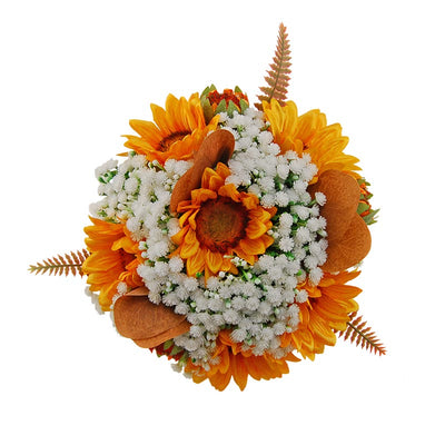 Bridesmaids Golden Silk Sunflower & Artificial Ivory Gypsophila Wedding Posy