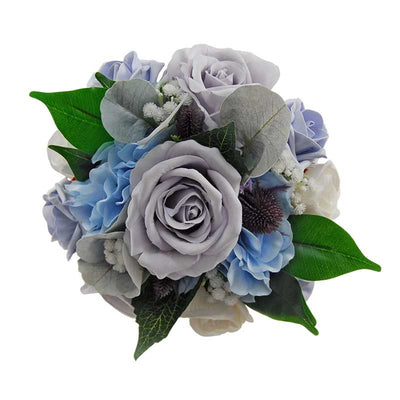 Bridesmaids Grey Rose, Pale Blue Silk Hydrangea & Gypsophila Wedding Bouquet