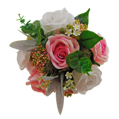 Bridesmaids Large Rose, Berries, Stephanotis, Eucalyptus & Garden Thistle Posy Bouquet