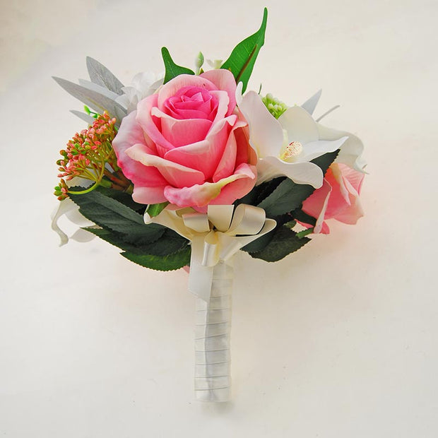 Bridesmaids Pink Silk Rose, Blue Calla Lily & Green Berry Wedding Bouquet