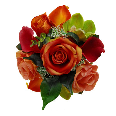 Bridesmaids Raspberry Calla Lily, Green Orchid & Orange Rose Wedding Bouquet