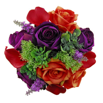 Bridesmaids Raspberry Lily, Purple & Orange Rose Lavender Wedding Bouquet