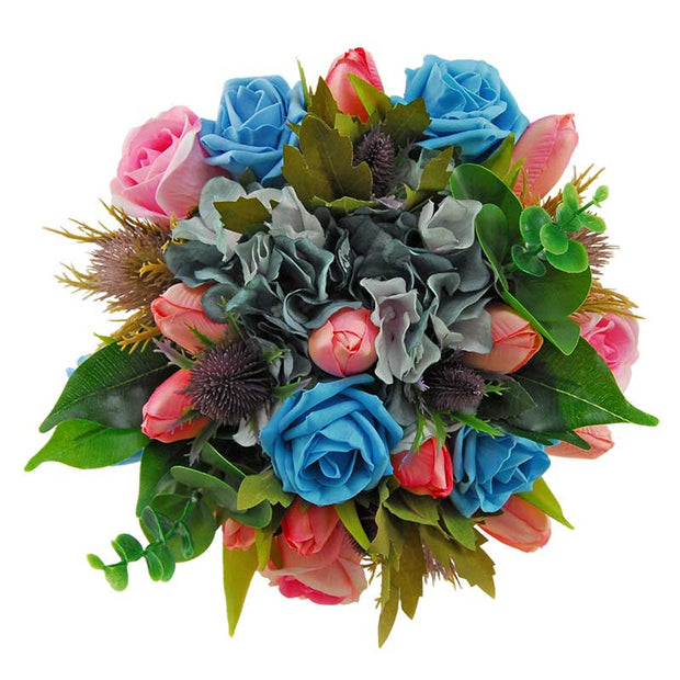 Bridesmaids Turquoise Rose, Teal Silk Hydrangea & Pink Tulip Wedding Bouquet
