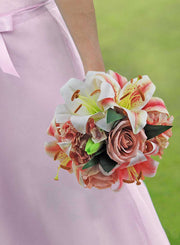 Brides Pink, Ivory Silk Tiger Lily Hydrangea & Dusky Rose Wedding Bouquet