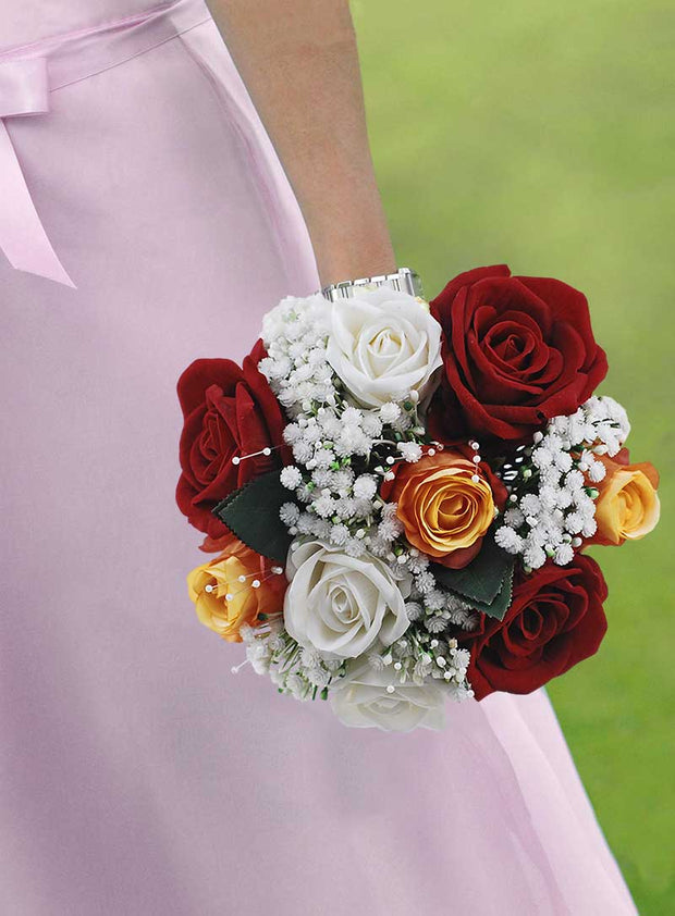 Brides Silk Open Red, Orange Bud Roses & Ivory Gypsophila Wedding Bouquet
