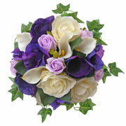 Bridesmaids Purple Anemone, Rose & Ivory Calla Lily Wedding Bouquet