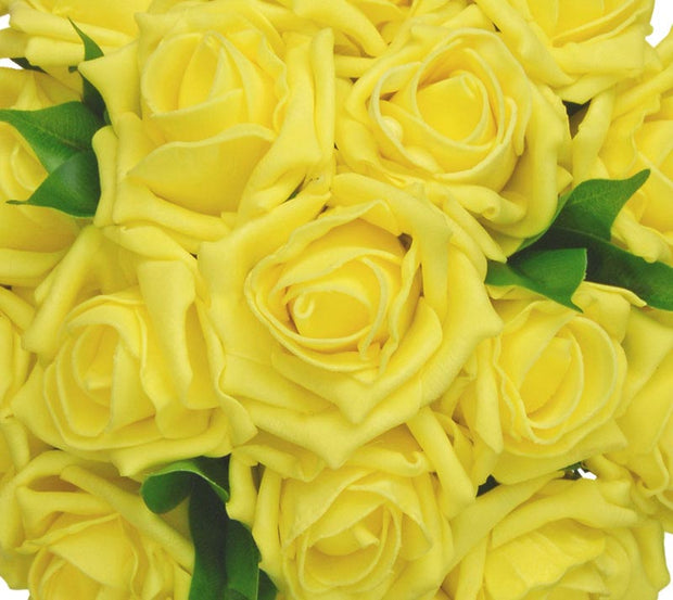 Bright Yellow Foam Rose Bridesmaids Wedding Posy Bouquet