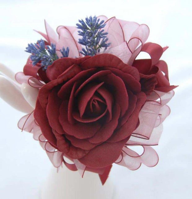 Burgundy Foam Rose & Lilac Lavender Flower Girls Wedding Wand