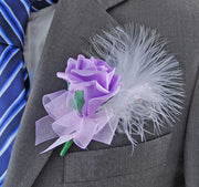 Lilac Rose, Pearl & White Feather Wedding Guest Buttonhole