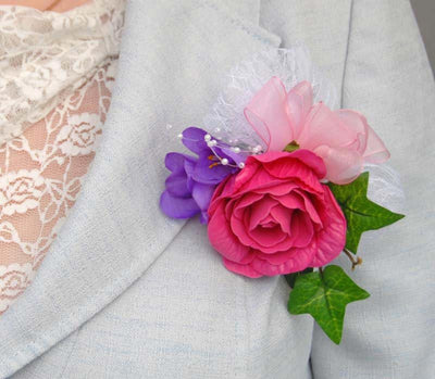 Cerise Rose Purple Freesia & White Lace Wedding Pin Corsage