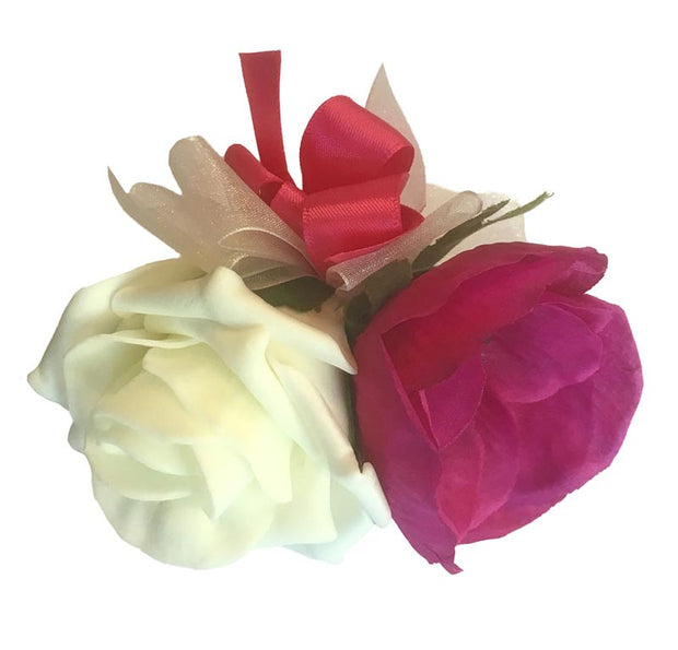 Grooms Cerise Pink Silk Anemone & Ivory Rose Wedding Buttonhole
