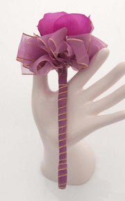 Cerise Pink Anemone Purple Ribbon Flower Girl Wedding Wand