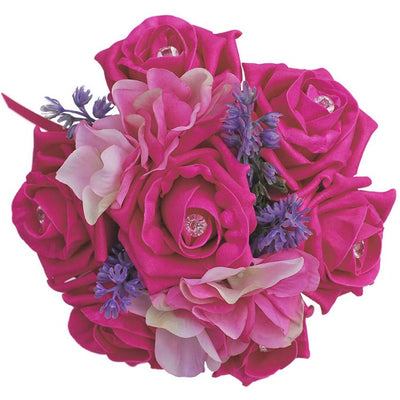 Cerise Pink Rose, Hydrangea & Lavender Flower Girl Wedding Posy