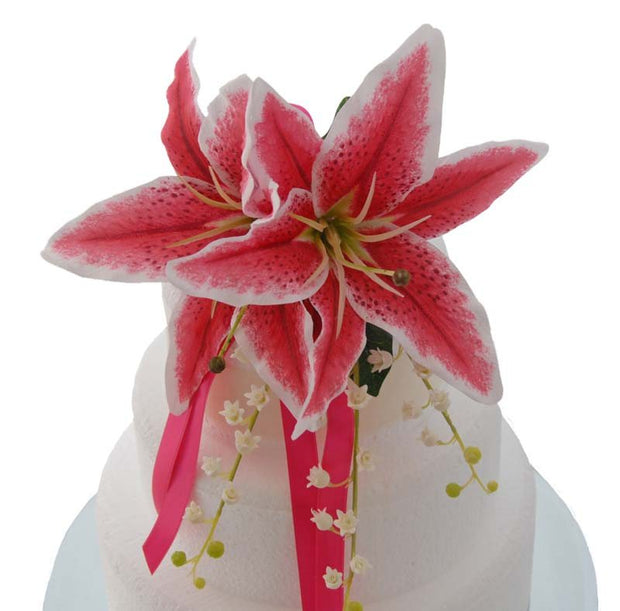Silk Cerise Stargazer Lily & Lily of the Valley Cake Spray
