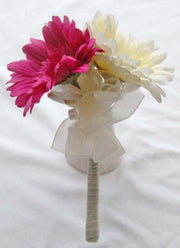 Cerise Pink & Ivory Silk Gerbera Flower Girl Wedding Posy