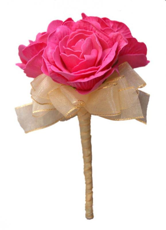 Triple Cerise Pink Foam Rose Flower Girl Wedding Wand