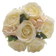 Childrens Flower Girl Ivory Foam Rose & Crystal Wedding Posy