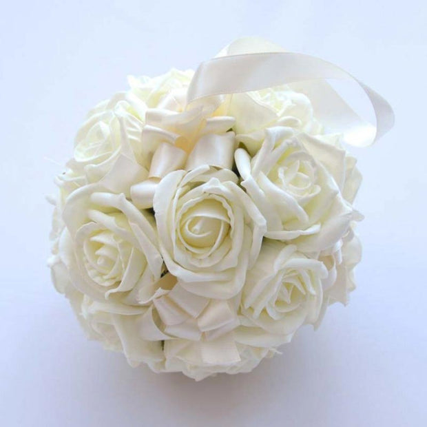 Ivory Foam Rose & Satin Ribbon Flower Girls Pomander