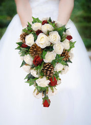 Brides Christmas Pine Cone, Red & Ivory Rose Wedding Shower Bouquet