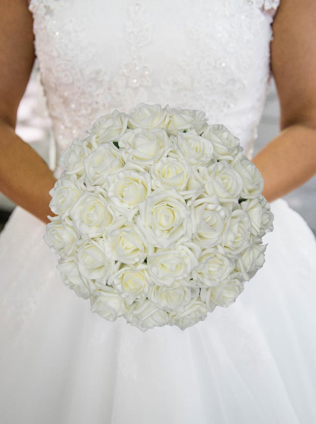 Classic Ivory Foam Rose Hand Tied Bridal Wedding Bouquet