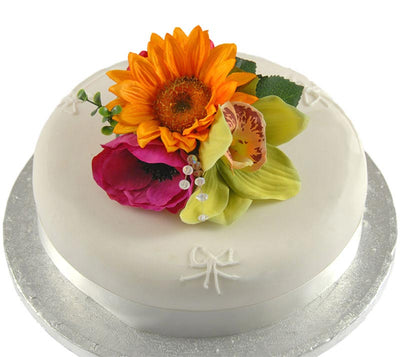 Golden Sunflower, Green Orchid & Cerise Anemone Cake Spray
