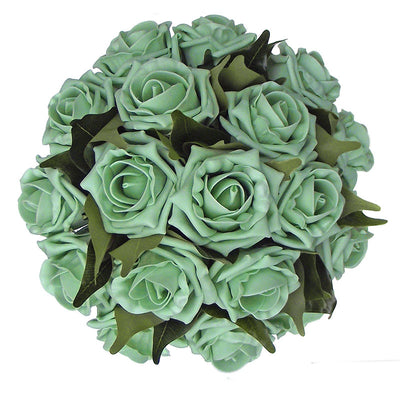 Bridesmaids Mint Green Foam Rose & Ficus Leaf Wedding Posy