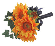 Golden Yellow Silk Sunflower & Ivy Flower Girl Wedding Posy
