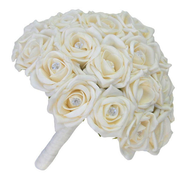 Brides Artificial Cream Diamante Rose Wedding Bouquet