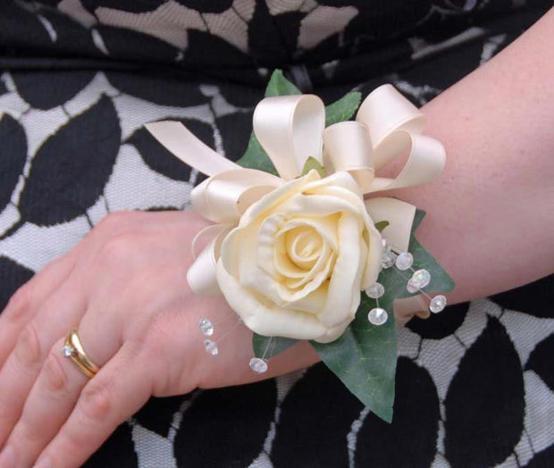Cream Foam Rose & Crystal Wedding Day Wrist Corsage
